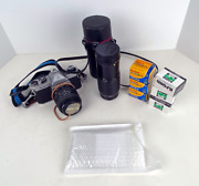 Pentax K1000 Camera, Lenses And Film - Used Tested Fully Functioning