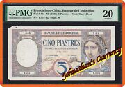 Jcandc - Pick.49a 1926 5 Piastres French Indo-china - Very Fine 20 By Pmg