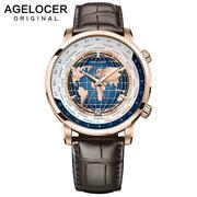 Agelocer Brand Designer Luxury Gold Menand039s Watch With World Time Date Power Reser