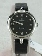 Wrist Watch Omega De Ville Menand039s Analog Black Silver Leather Swiss Used