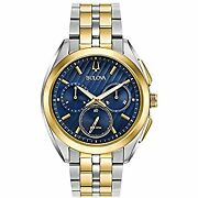 Wristwatch Bulova Curv 98a159 Menand039s Gold Silver Blue Non-numeric Hour Marks
