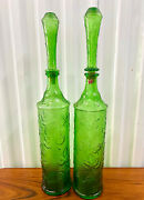 Two Large Vintage Mid Century Italian Green Embossed Glass Decanters