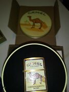 1994 Solid Brass Camel Zippo Lighter In Tin Mib With 2 Free Gifts