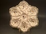 Antique Hand Painted Gold And Silver Flowers And Leaves Oyster C1883