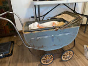 Vintage 1940and039s Baby Doll Stroller Carriage American Army Graphics 7658