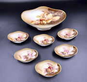 Antique Nippon Morimura Brothers Hand Painted 7 Piece Nut Dish