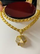 22k 916 Fine Yellow Real Gold Mens Womenandrsquos Triangle Necklace 22andrdquo Long 5mm 19.9mm