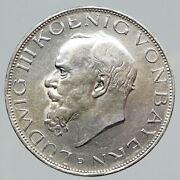 1914 D Germany German States Bavaria King Ludwig Iii Silver 3 Mark Coin I91759