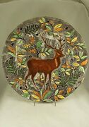 Gien French Faience Rambouillet Large 13andfrac14 Charger Chop Plate W Stag Or Deer