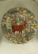 Gien French Faience Rambouillet Large 13¼ Charger Chop Plate W Stag Or Deer