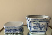 Vintage Chinese Blue And White Porcelain Flower Pot With Porcelain Stand-2 Part