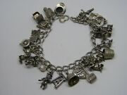 Vintage Sterling Silver Charm Bracelet With 7 Older Disney Charms , 26 Charms