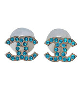 Classic Turquoise Blue Crystal Cc Logo Metal Stud Earrings 2006 Spring