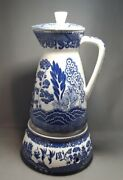 Vintage Rare Willow Blue Coffee Carafe And Warmer.