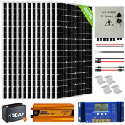 1800w 1200w 600w Solar Panel Kit 100ah 12v Deep Agm Battery For Home Farm Shed