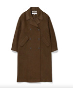 Norse Projects Womens Brown Khaki Betty Wool Overcoat Size 36