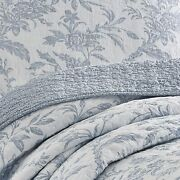 New Cozy Cottage Chic French Country Light Blue Grey White Leaf Soft Quilt Set