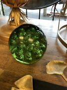 Green Glass Paperweight - Large Heavy Some Signs Of Wear 6 X 6 14 Cm Doorstop