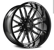 4 New 24x12 Axe Off Road Hades Black Milled Wheels 8x6.5 Dodge Chevy 8x165.1 Gmc