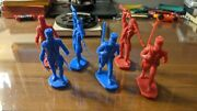 Ideal Alamo Playset Mexican Army Figures Only - 6 - 3 Red 3 Blue - Nice