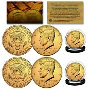 2021 24k Gold Clad Jfk Kennedy Half Dollars 2-coin Set Pandd Mint W/coa And Holders