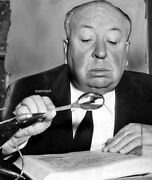 Alfred Hitchcock With Magnifying Glass Exquisite Rare Candid 8x10 Photograph
