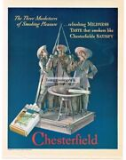 1937 Chesterfield Cigarettes Three Musketeers Ashtray Vintage Ad