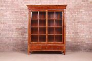 Ethan Allen French Regency Carved Cherry Wood Lighted Bookcase Or Display Cabine