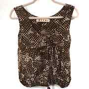 Marni Italian Brown And White Floral Print Top Women's Size 38
