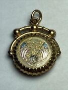 Antique Gold Filled Reverse Painted Etched Glass American Eagle Flags Watch Fob