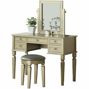 Bobkona Vanity Table With Stool Set White/champagne/galaxy Blac