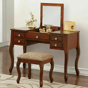 Poundex F4146 Bobkona Cailyn Flip Up Mirror Vanity Set With Stool In Black