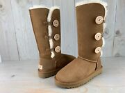 Ugg Bailey Button Triplet Triple Ii Chestnut Suede Tall Boots Size Us 7 New