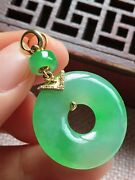 Grade A Icy Green Jadeite Jade Pendant Handcarved 18k Gold Donught 0524
