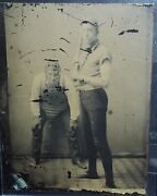 Early Tintype Photo - Baseball Players Catcher And Batter With Vintage Equipment
