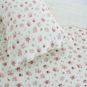 New Cozy Cottage Shabby Chic White Pink Red Green Romantic Rose Quilt Set