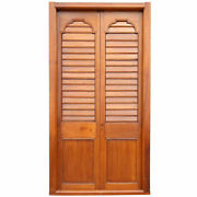 Antique Large Anglo Indian Teak Louvered Double Door With Frame C. 1850