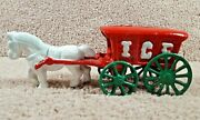 1930's Arcade Hubley Cast Iron White Horse Drawn With Red Ice Wagon Or Buggy