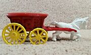 1930's Arcade Hubley Cast Iron White Horse Drawn With Ice Wagon Or Buggy