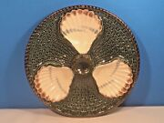 Antique Majolica Oyster Plate Rare 3 Well French Majolica Longchamp