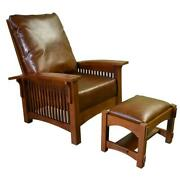 Craftsman Mission Morris Chair And Ottoman - Quarter Sawn White Oak / Leather