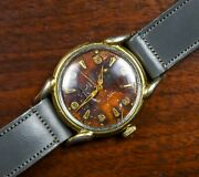 Vintage Benrus Manual Wind Gold Plated Watch Unique Tropical Dial