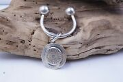 And Co Sterling Silver Horse Shoe Keychain, With A Round Charm