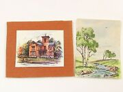 Miniature Art Prints The Klerner House And A Country Creek Scene E432