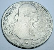 1805 Spanish Silver 2 Reales Genuine Antique 1800's Colonial Two Bit Pirate Coin