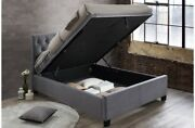 Modern Crushed Velvet Steel Or Grey Fabric Ottoman Bed With Mattress Options