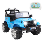 Toy Rc Car 12v Ride-on Rc Cars Kid W/remote Small Jeep Dual Drive Battery Blue