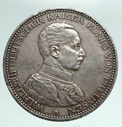 1913 Germany German States Prussia Wilhelm Ii Vintage Silver 5 Mark Coin I90953