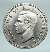 1947 South Africa George Vi Springbok Deer Silver 5 Shillings Large Coin I90968