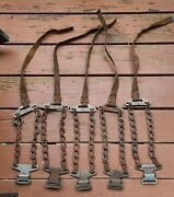 6x 1940s/1950s Snow Chains / Tire Straps Andndash Army Green Vintage
